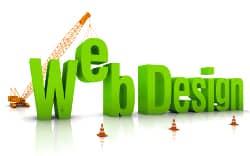 Construction site crane building Web Design 3D words.