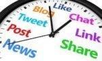 Clock with social media verbs