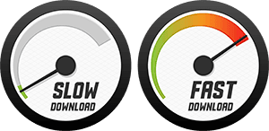 Speedometers with slow and fast download.