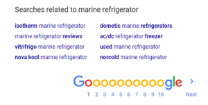 Screen shot of Google's related searches for marine refrigerator