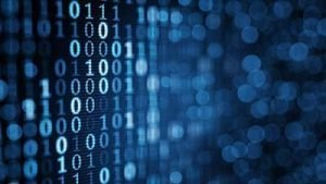 blue digital binary data on computer screen.
