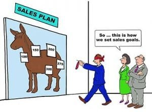 Cartoon of using pin the tail on the donkey to set sales goals.